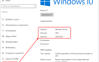 update  versione  windows-10  build