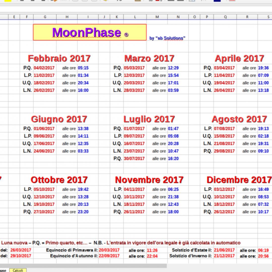 luna fasi lunari calendario libreoffice