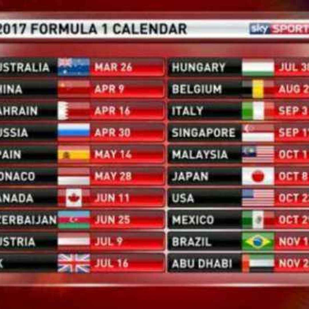 F1: calendario 2017 e orari tv (Sky e Rai) di tutti i GP (F1)