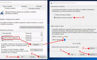 Microsoft: disattivare punti ripristino windows-10