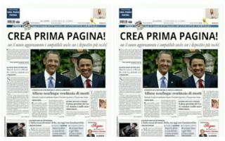Fotoritocco: prima pagina  quotidiani  giornale