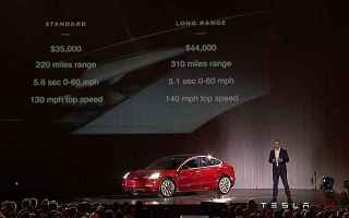 Automobili: auto elettrica  tesla  model 3  musk