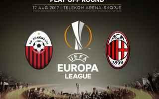 Questa sera scenderà in campo il Milan di Montella per la gara di ritorno dei playoff di Europa Lea