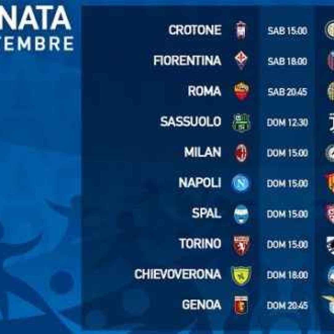 Serie A Partite Orari E Programma Della 4 Giornata Serie A