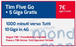 Spendendo 7 euro ogni 28 giorni si può scegliere di attivare lofferta Tim Five Go di Tim che preved