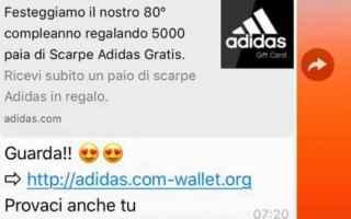 Sicurezza: whatsapp  truffa  adidas