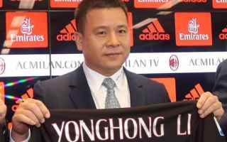 Calcio: milan  yonghong li  berlusconi
