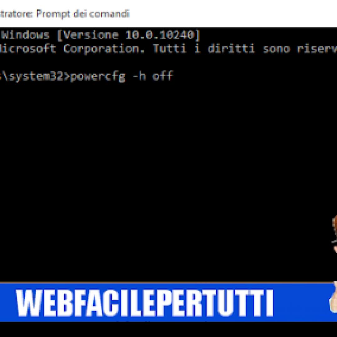 windows 10  eliminare file hiberfil