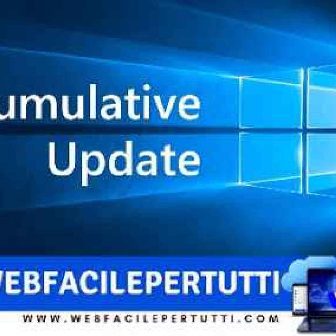 windows 10  aggiornamento comulativo