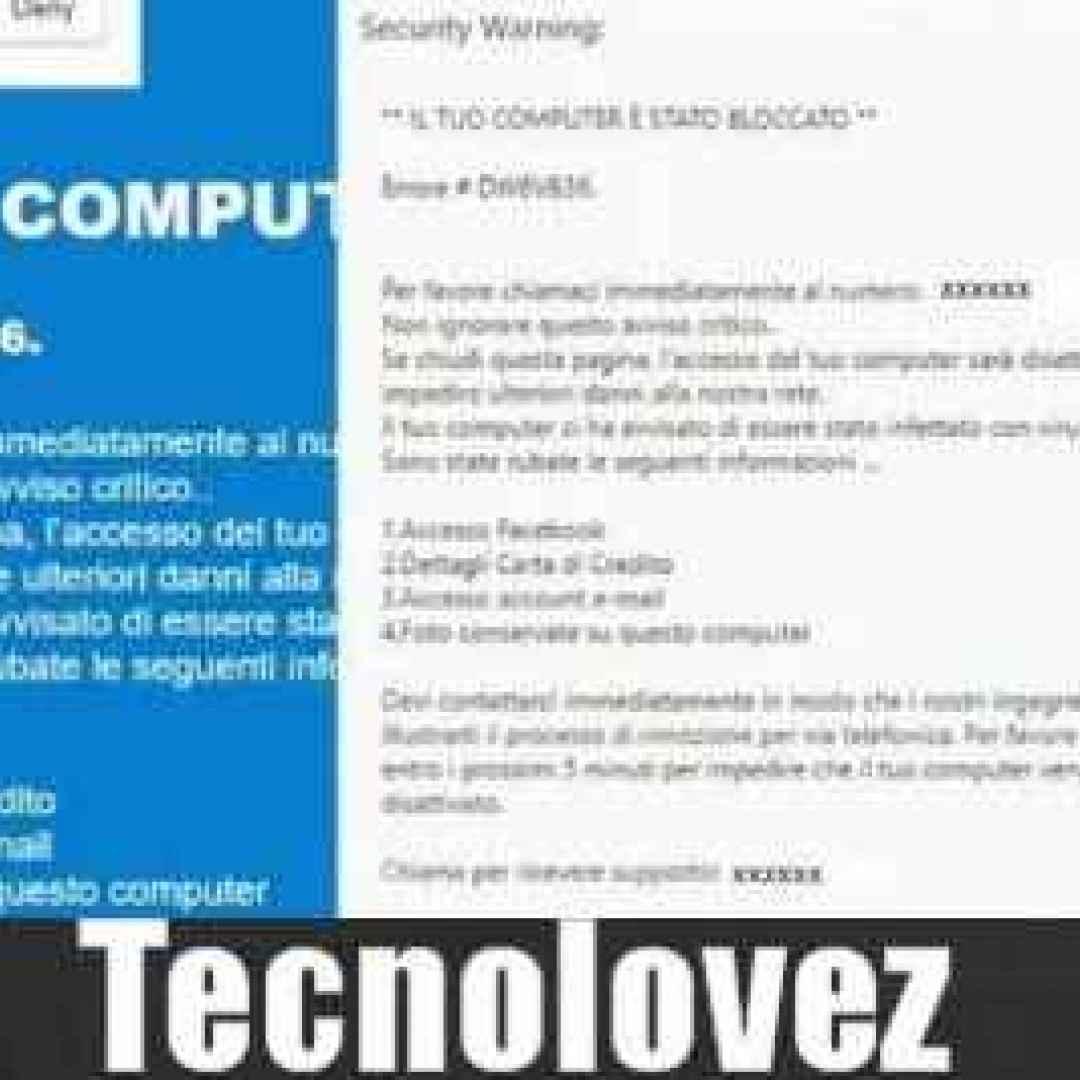 #dw6vb36 security warning errore truffa