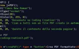Programmazione: Semplice tutorial su come creare un pdf con JavaScript