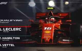 Formula 1: GRAN PREMIO DI SINGAPORE: LECLERC BATTE HAMILTON-VETTEL E CONQUISTA LA 5 POLE STAGIONALE