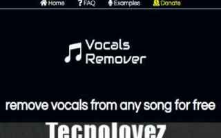 Audio: remove vocals  eliminare le voci