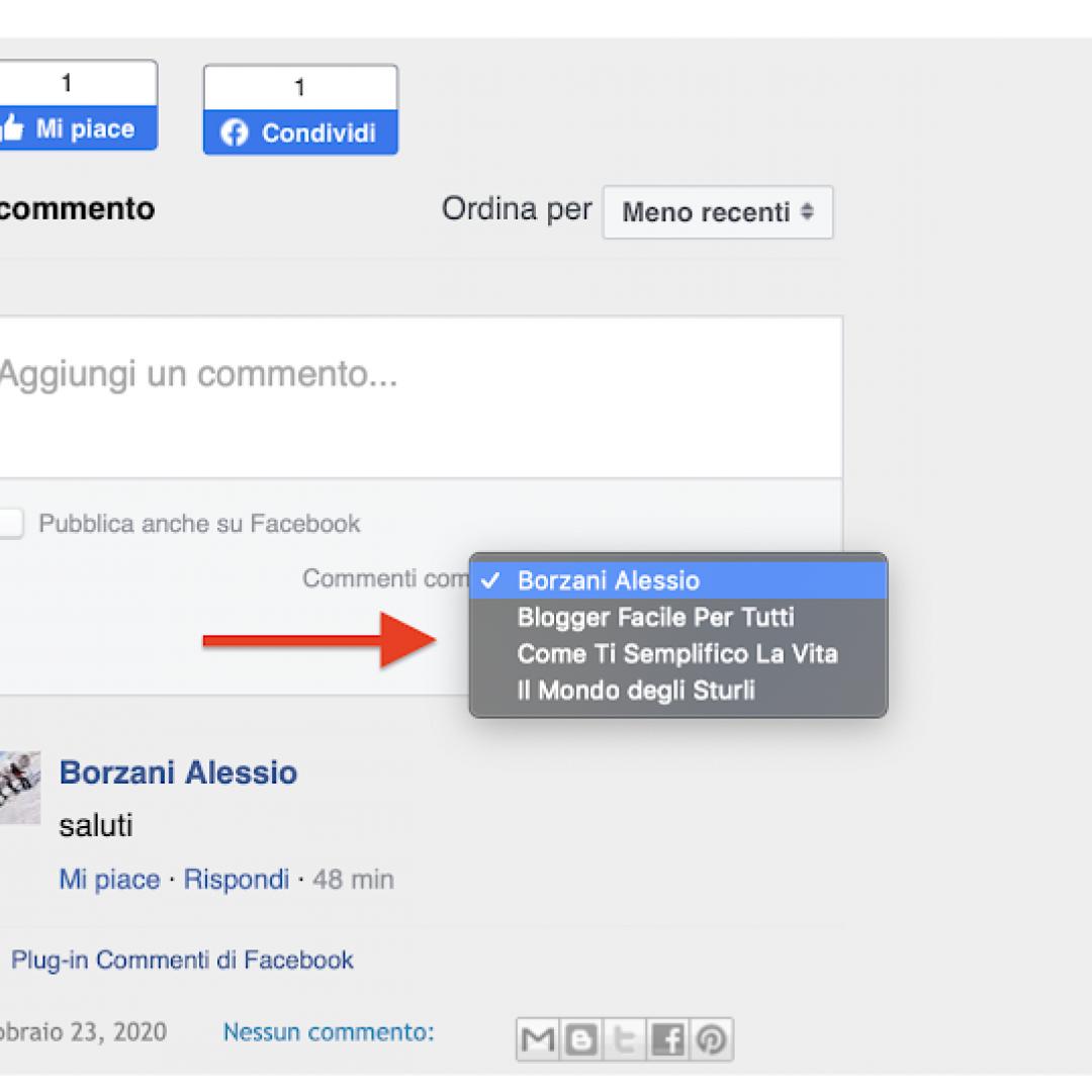 inserire box commenti facebook blogger