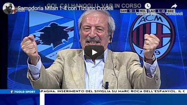 Sampdoria - Milan 1-4 con Tiziano Crudeli - VIDEO TV (Milan)