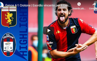 Serie A: genoa crotone video gol calcio